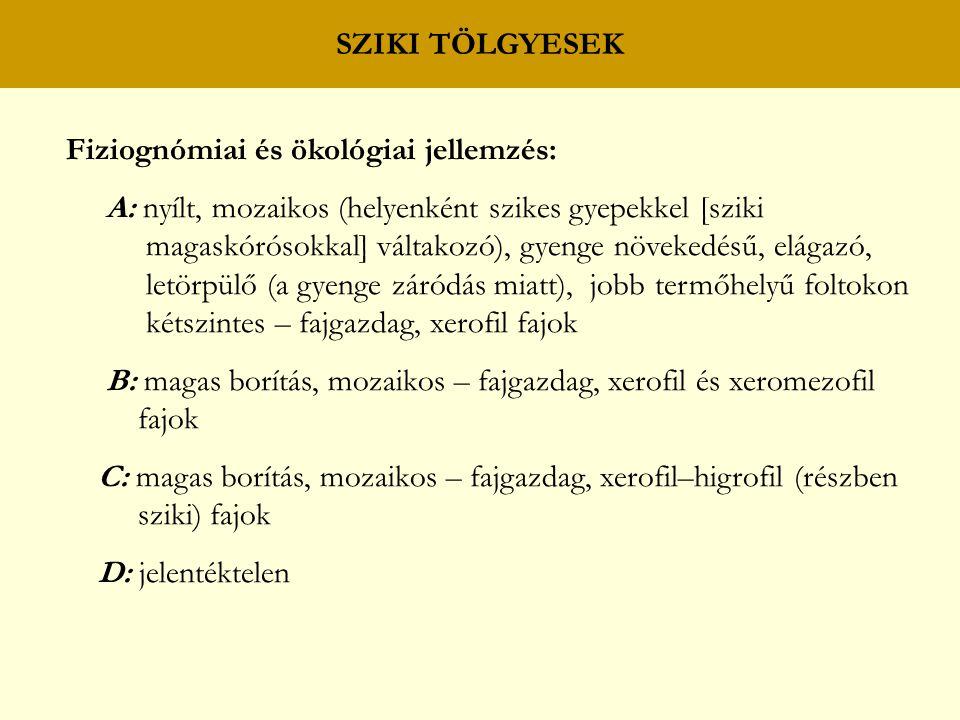 SZIKI TÖLGYESEK Fiziognómiai és ökológiai jellemzés: A: nyílt, mozaikos (helyenként szikes gyepekkel [sziki.